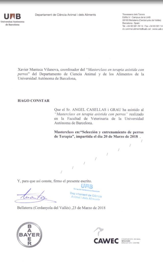 Diploma masterclass canoteràpia - Facultat de Veterinària UAB - 2018